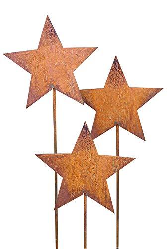 Bornhöft Gartenstecker Stern Set aus Edelrost Metall Rost Gartendekorationige Weihnachten Sterne rostige Gartendekoration (3 x 118cm)