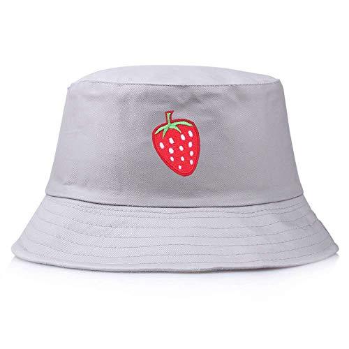 ZHENQIUFA Sombrero Pescador Gorras Panamá Bucket Sombrero De Cubo Bordado De Fresa De Color Sólido para Mujer Gorra De Pescador Sombreros para El Sol Gorras Planas Sombrero De Pesca-4
