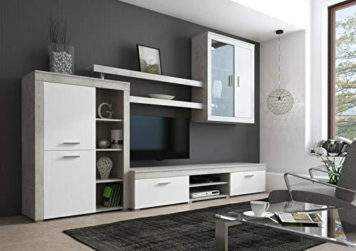 Parete Attrezzata Besko Mobile Soggiorno TV con Mensole e Vani Salotto Legno Base Televisione Sala da Pranzo Design Moderno 293 x 50 x 193 cm Colore Bianco e Cemento