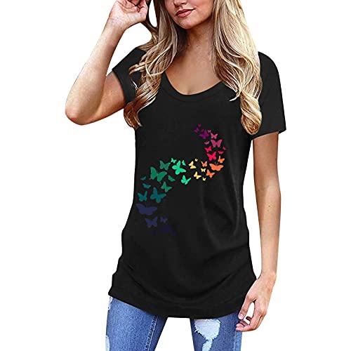 Ykghfd Blusa de manga corta casual con estampado de tallas grandes para mujer, Negro, M