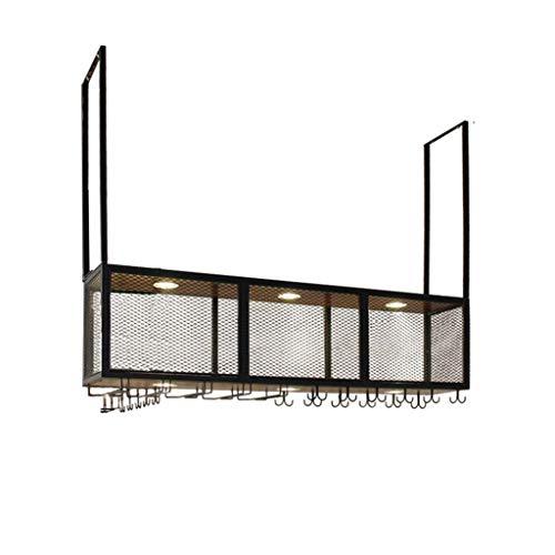 Retro Holz Wandregal Metall Eisen Grid Deckenregal Lagerung Weinregale Hängende Weinflasche und Gläser Halter Rahmen Wand Dekoration Anwendung (größe : L100*W30*H80cm)