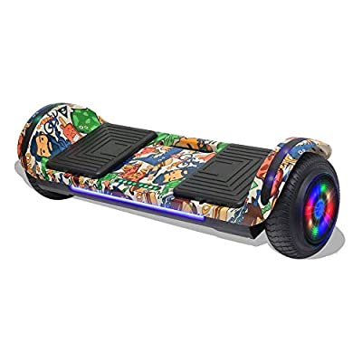 """Longtime 6.5"""" Chrome Metallic Hoverboard Self Balancing Scooter with Speaker LED Lights Flashing Wheels (White Print)"""
