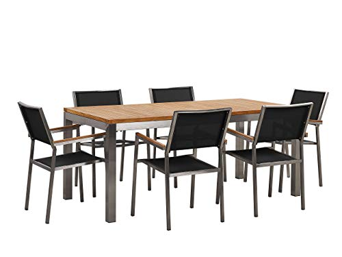 Set da Giardino Tavolo in Teak e 6 sedie Nere GROSSETO