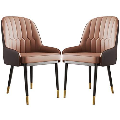ZYXF Esszimmerstuhl Retro Design PU-Leder Dining Chairs Set wasserdicht Gepolsterte Sitzmetallbeine Küchenstuhl 2er-Set Stühle (Color : C)