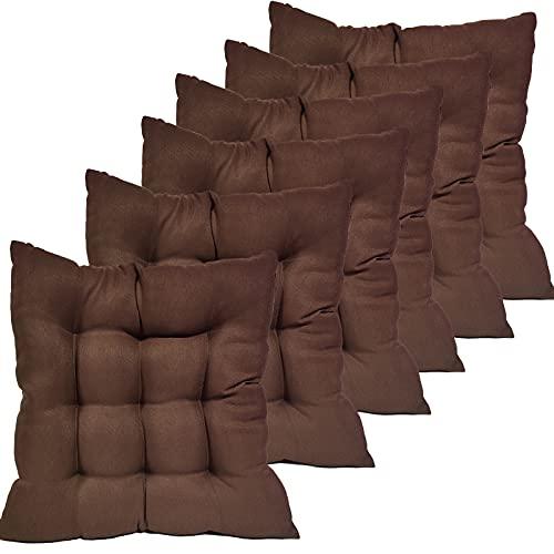Oceano Cojin Asiento 9 Puntos Cojines Decorativos para Asiento, Cojines para sillas, de poliéster, para Interior y Exterior, para Cocina, jardín, Silla de Comedor 35x35 6UD (Marron)