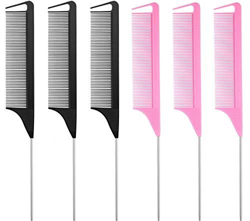 6 Pieces Hair Parting Comb, Stainless Steel Pintail Comb, Rat Tail Comb Teasing Combs for Hair Cutting Hairdressing Styling(Black & Pink)
