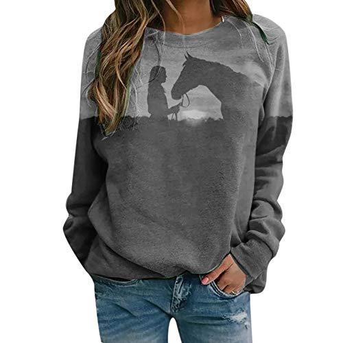 Sasaquoy Damen Sweatshirt Pullover Mädchen und Pferd Druck Langarmshirt Tops Herbst Frauen Elegant Pulli Langarm T-Shirt Shirts Teenager Bedrucktes Lockere Casual Oberteil (Gray, Small)