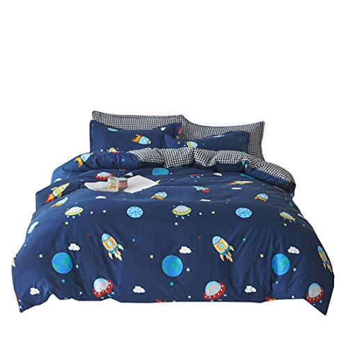 Kids Club Planets - Set copripiumino e federa per letto singolo, per ragazzo Marte e Luna, blu scuro