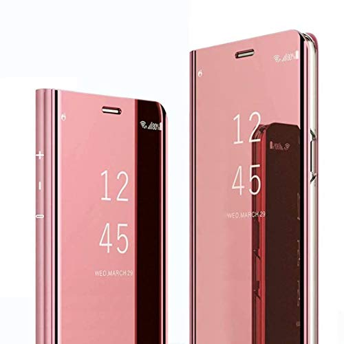 HUUH Funda para Xiaomi Redmi Note 9S/Redmi Note 9 Pro/Redmi Note 9 Pro MAX,Caja del teléfono Espejo,Hecha PC+PU Material Compuesto,Soporte Plegable,Elegante y único Carcasa(Rosado)