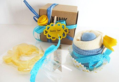 Baby Shower Idée cadeau – Cupcake (Babero TOMMEE TIPPEE + chaussettes en coton) et mordant rafraîchissant Canpol Baby Bleu pour enfants