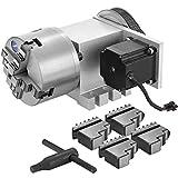 VEVOR CNC Router Rotary Axis mit 4-Backenfutter CNC Router Axis, Untersetzungsverhältnis 6: 1, Durchmesser der Abtriebswelle 30 mm Drehachse, Fräsmaschinenzubehör, für 2-Phasen-57-Schrittmotor