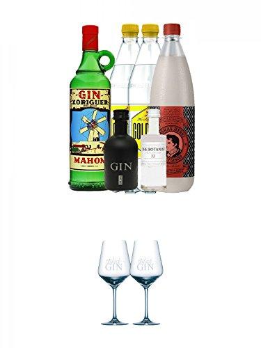 Gin Xoriguer Mahon Gin 0,7 Liter + 1 x Black Gin 5 cl + 1 x Botanist 5 cl + 1 x Thomas Henry Spicy Ginger 1,0 Liter + 2 x Goldberg Tonic 1,0 Liter + Black Gin Glas 2 Stück