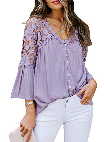 CANIKAT Women's Stylish V Neck Lace Crochet Flowy 3 4 Bell Sleeve Button Down Casual Shirts Blouses Tops Purple S