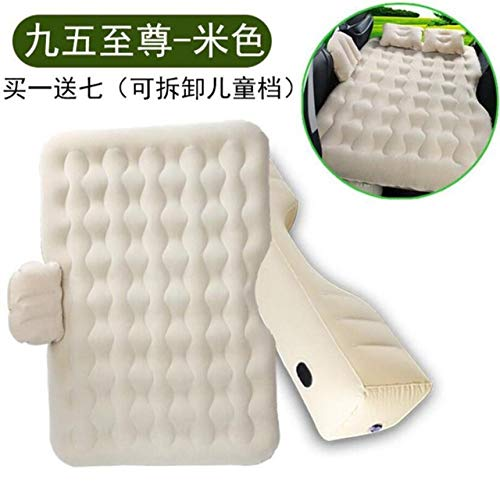 POUPDM Car Inflatable Mattress Top Selling Car Back Seat Cover Car Air Mattress Travel Bed Inflatable Mattress Air Bed with Two Air Pillow Camping,Beige