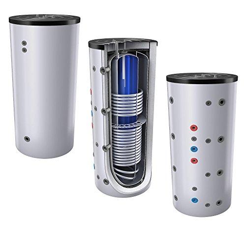 1000L Schichten Kombispeicher - Tank in Tank System (Solarserspeicher/Pufferspeicher mit integrierter Trinkwassereinheit), mit 2 Wärmetauschern, inkl. Isolierung, Magnesiumanoden und Thermometer