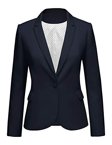 Men's Casual Blazer One Button Sport Coat for Daily Wear L Dark Navy Blue