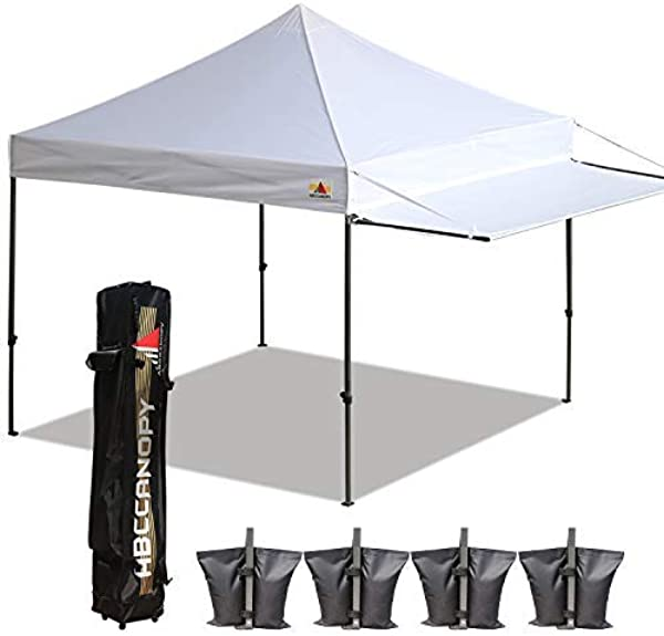 ABCCANOPY 10x10 Tent Pop Up Canopy Tent Instant Canopies Commercial Outdoor Canopy With Awning Wheeled Carry Bag Bonus 4X Weight Bag White 1905
