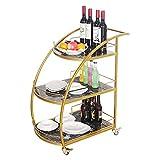 Beber Curvado Curvado Carrito de Comedor, Mesa de Comedor Cocina Almacenamiento de Vino Carro, Home Hostess Dining Trolley con Ruedas con Llave