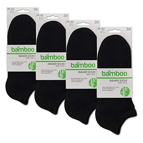 ORIGINAL BASICS Herren & Damen Bambus Sneaker-Socken Füßlinge Kurz-Socken OEKO-TEX Standard 100 (12 Paar) Schwarz 39-42