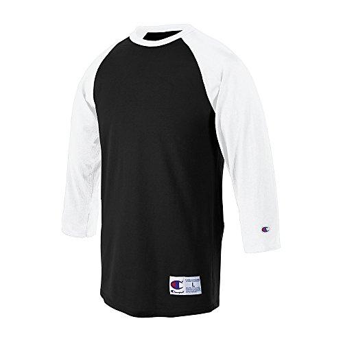Champion 5.2 oz. Raglan Baseball T-Shirt (T1397) Black/White, XL