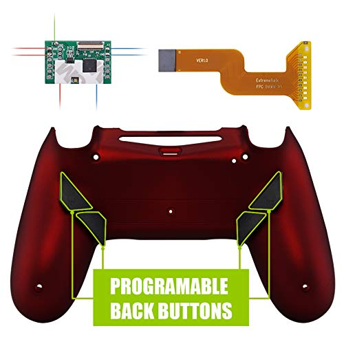 eXtremeRate Dawn Programable Remap Kit PS4 Scuf Reasignación de Botones para Playstaion 4 con Mod Chip&Carcasa Trasera&4 Botones Traseros Compatible con PS4 JDM 040/050/055(Rojo Esmerilado)