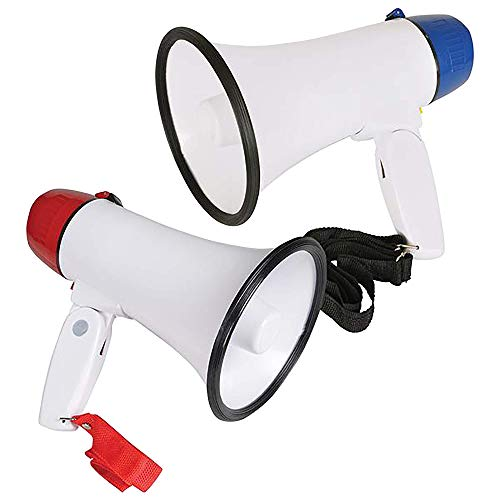 ArtCreativity Battery-Operated Megaphone - Set of 2 - Portable Mega Phone Loud Speaker with Siren, Volume Control and Hanging Strap - Great Prize for Kids and Adults - Blue and Red