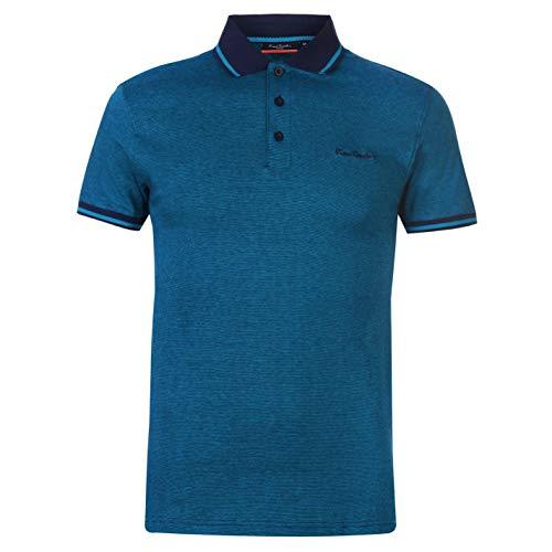 Pierre Cardin - Camiseta de manga corta para hombre Bleu Marine/Turquoise 3XL