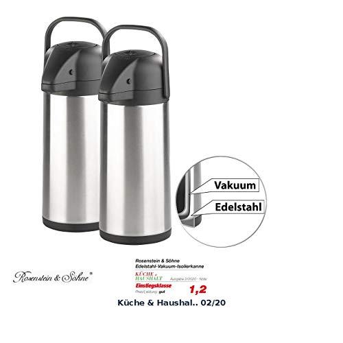 Rosenstein & Söhne Isolierkanne Edelstahl: 2er-Set doppelwandige Vakuum-Isolierkannen mit Pumpsystem, je 3 l (Edelstahl Pump-Kannen)