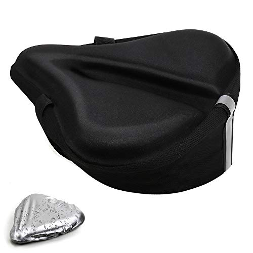 Freehawk Large Soft Gel Bike Seat Cover, Wide Pad Exercise Bike Saddle Cover, Wide Foam Bike Seat Cushion Fits Outdoor Indoor Cycling (With Waterproof & Dustproof Bike Saddle Cover) (Black)