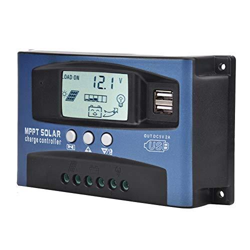 VGEBY Controlador de Carga MPPT, YCX-003 30-100A Pantalla Grande Controlador de Carga de Panel Solar MPPT Regulador Inteligente de batería de Panel Solar 12V/24V(YCX-003-100A)