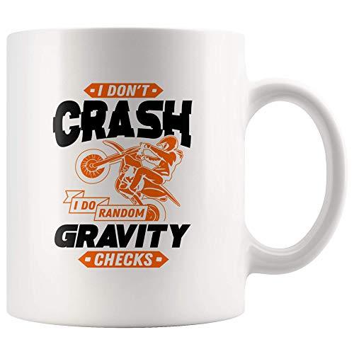 LAKILAN I Don 't Crash I Do Random Gravity Checks-Funny Dirt Bike Motocross Lover Gift Taza de 11 oz