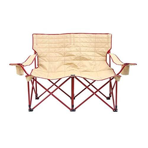 Silla FANGQIAO Shop Titular al Aire Libre Plegable Doble portátil Camping Taburete con Respaldo Barandilla Copa Comida campestre del Recorrido de Pesca Montañismo Barbacoa Parque Aventura Playa Bei