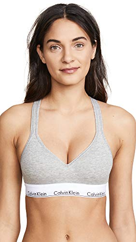 Calvin Klein Underwear Women's Modern Cotton Lightly Lined Bralette, Grey Heather, Medium