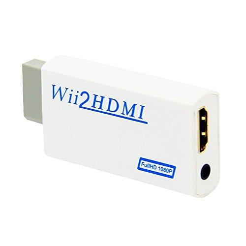 Kobwa HDMI convertitore adattatore per wii a HDMI (Wii2HDMI) 1080P, 720P Full HD TV Audio con connettore HDMI 3,5mm stereo jack audio bianco
