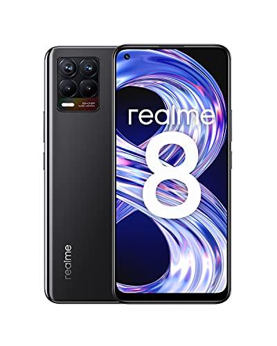 "realme 8 Smartphone Libre, Cámara cuádruple con IA de 64MP, Pantalla completa AMOLED superior de 6,4"", Carga Dart de 30W, Batería masiva de 5000 mAh, Dual Sim, NFC, 4+64GB, Negro (Cyber Black)"