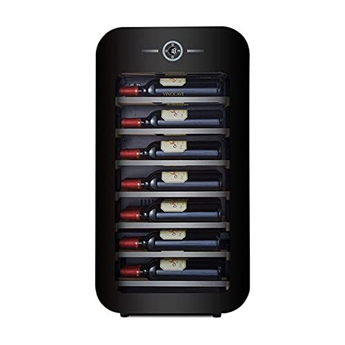 XTZJ Mini nevera 17 'refrigerador de vino refrigerador - 22 botella frigorífico de vino con refrigerador de acero inoxidable y puerta de doble capa puerta de vidrio templado y función de memoria de te