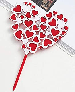 Lovers Cake Toppers (Love Heart Model) Party Cake Decoration Topper for Birthday Wedding Baby Shower Party Cake Toppers