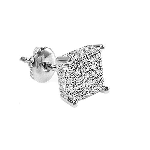 Pendientes de tuerca de plata de ley con forma de diamante redondo de 0,28 quilates para hombre, 1/2 ct (solo 1 unidad)