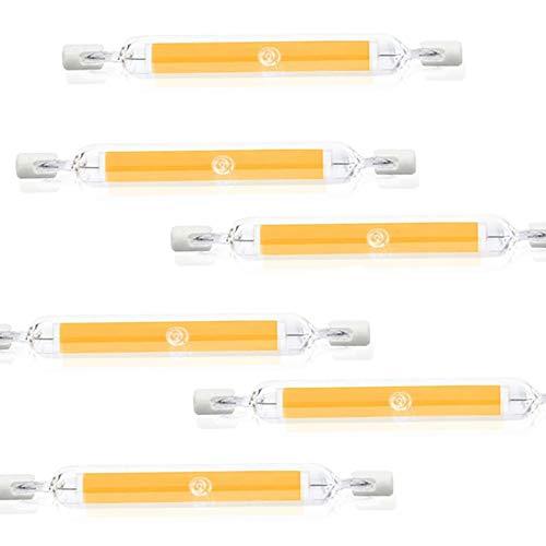 ZJYX R7S Bombilla LED 118mm 20W 2000LM/ 20W para Sustitución de Halógeno de 200W, Blanco Cálida 3000K, 360 Grados Luz, Regulable, LED R7S COB 118mm para Plafones, Pack de 6