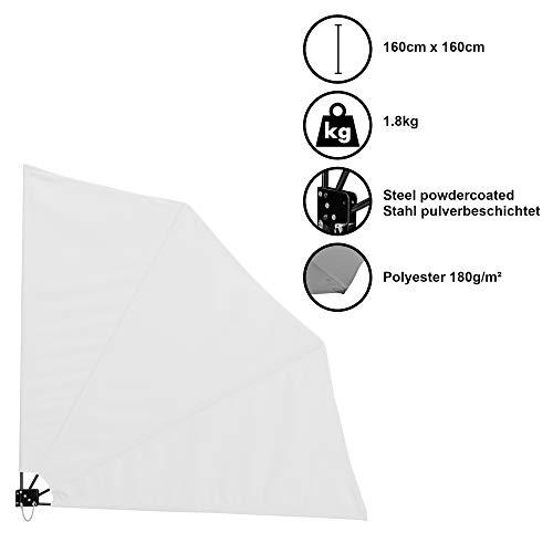 [casa.pro]®] Balkonfächer Wandklappschirm Wandschirm Seitenmarkise Balkonumspannung Klappbar Sichtschutz Balkon Sonnen Wind Schutz Weiß / 160x160cm / 1,8kg / Stahl/Polyester 180g/m²