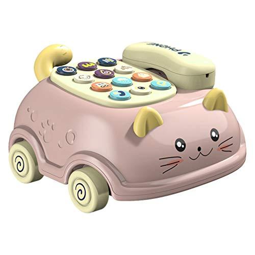 Tomaibaby Juguete Telefónico para Bebés Juego de Simulación Teléfono Diseño de Gato Teléfono Coche Juguete Musical Juguetes Educativos para Niños Y Niños Pequeños 12+ Meses (Sin Batería)