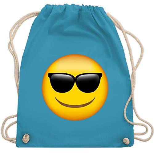 Comic Shirts - Emoticon Sonnenbrille - Unisize - Hellblau - turnbeutel jung - WM110 - Turnbeutel und Stoffbeutel aus Baumwolle