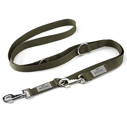 BedDog® Hundeleine Emma, verstellbar in 3 Längen, Doppel-Leine, Führ-Leine, Lauf-Leine, mittel-große und große Hunde, Gesamtlänge 2m - Khaki