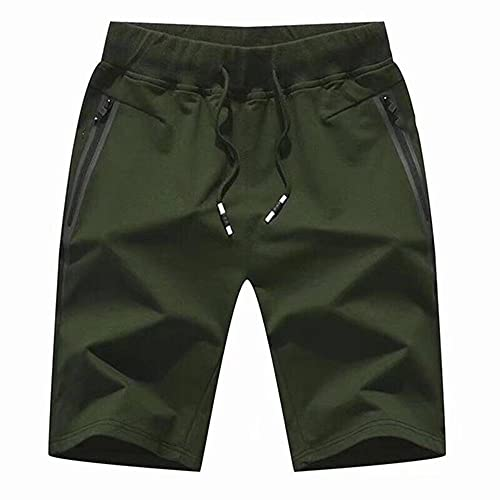 N\P Pantalones cortos de playa de verano casual de los hombres de color sólido grande, verde, 4X-Large