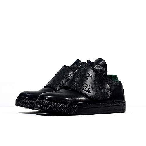 Copy of Sneek Low XII - EU 44 - US 11 - UK 10-29 cm - Cuero Italiano Hecho A Mano Hombre Piel Color Negro Zapatos Casuales Sneakers - Cuero Charol - Encaje