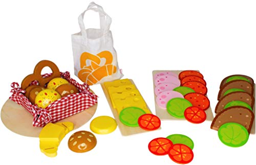Bambilino Goki Brötchen, Brotscheiben, Wurstscheiben und Käseaufschnitt, mit Salat- und Gemüsebeilage, Set Brötchen, Brot, Wurst, Käse für Kaufmannsladen & Spielküche