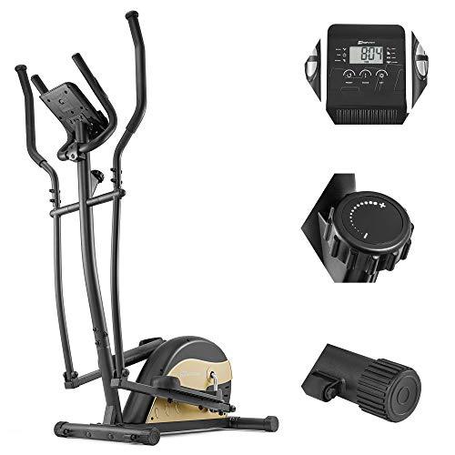 Hop-Sport Crosstrainer HS-003C Ergometer Ellipsentrainer Nordic Walking Stepper Ideal für Zuhause bis 120 kg (Gold)