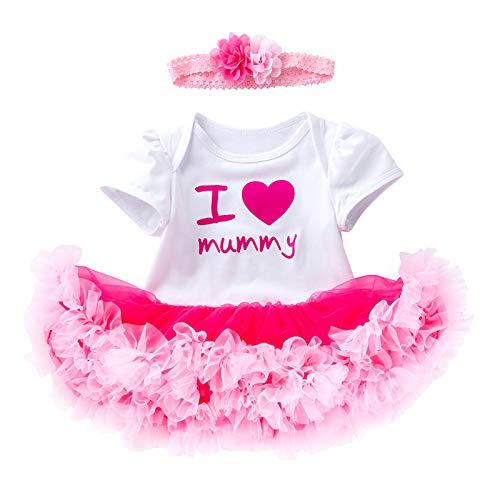 Haokaini Conjunto de ropa de día de la madre para bebés niñas de malla tutú falda vestido de día de la madre con diadema conjunto