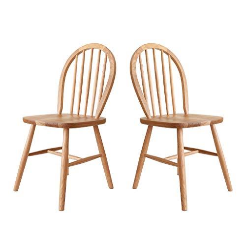 Pan&Pan Juego de 2 sillas Windsor, sillas de Madera Country, Muebles de Comedor Vintage sin Brazos, sillas de Comedor Nostalgia Arrow Back, Roble (2)