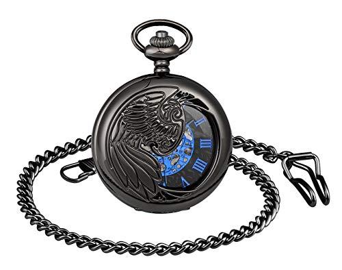 MICGIGI - Orologio da taschino unisex con catena, analogico, a carica manuale, numeri romani, stile retrò, scheletro cavo